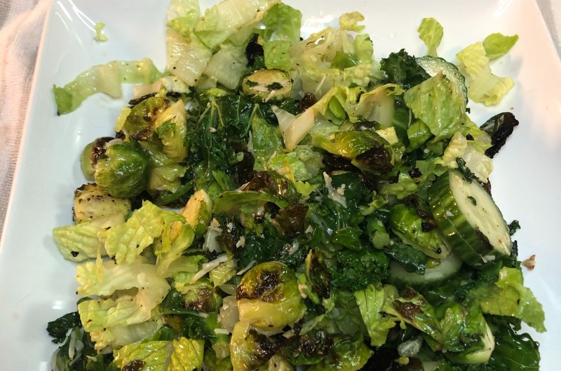 Warm Brussel Sprouts & Kale Caesar Salad