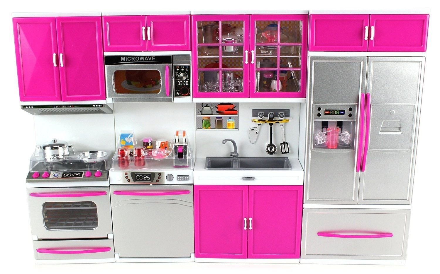 My Modern Kitchen 32 Full Deluxe Kit Battery Operated Kitchen Playset Refrigerator Stove Sink