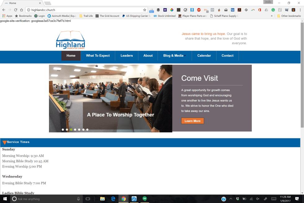 Highland Church of Christ Website Design