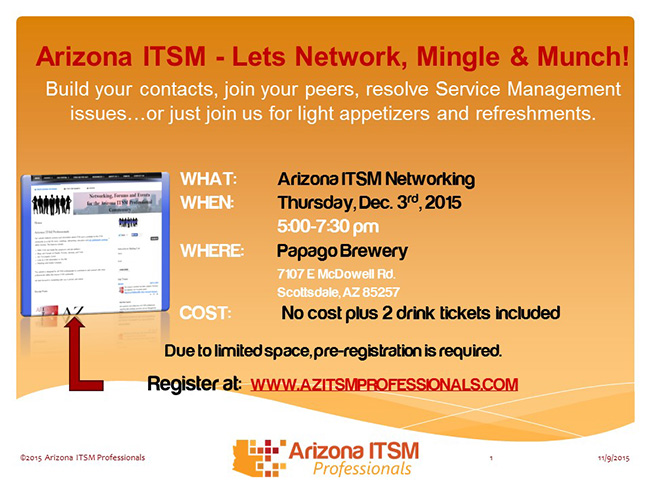 AZ ITSM Networking - Thursday, Dec. 3rd, 2015