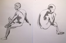 Robin, 2 sketches. Charcoal on paper, Todmorden, 2015.