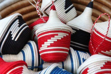 ornamental baskets- r,bl,bk