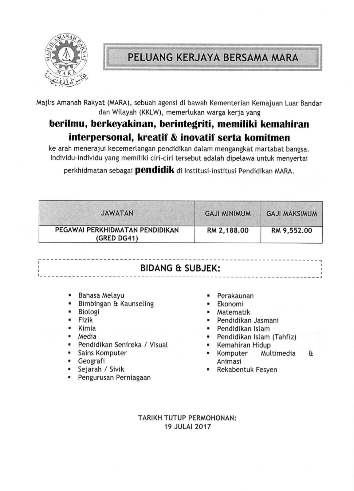 Jawatan Kosong Mara Tarikh Tutup 19 Julai 2017 Azizulwmc Com