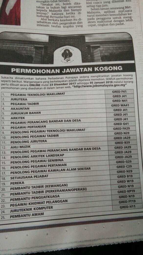 Jawatan Kosong Pelbagai Perbadanan Putrajaya Tarikh Tutup 5 Januari 2018 Azizulwmc Com