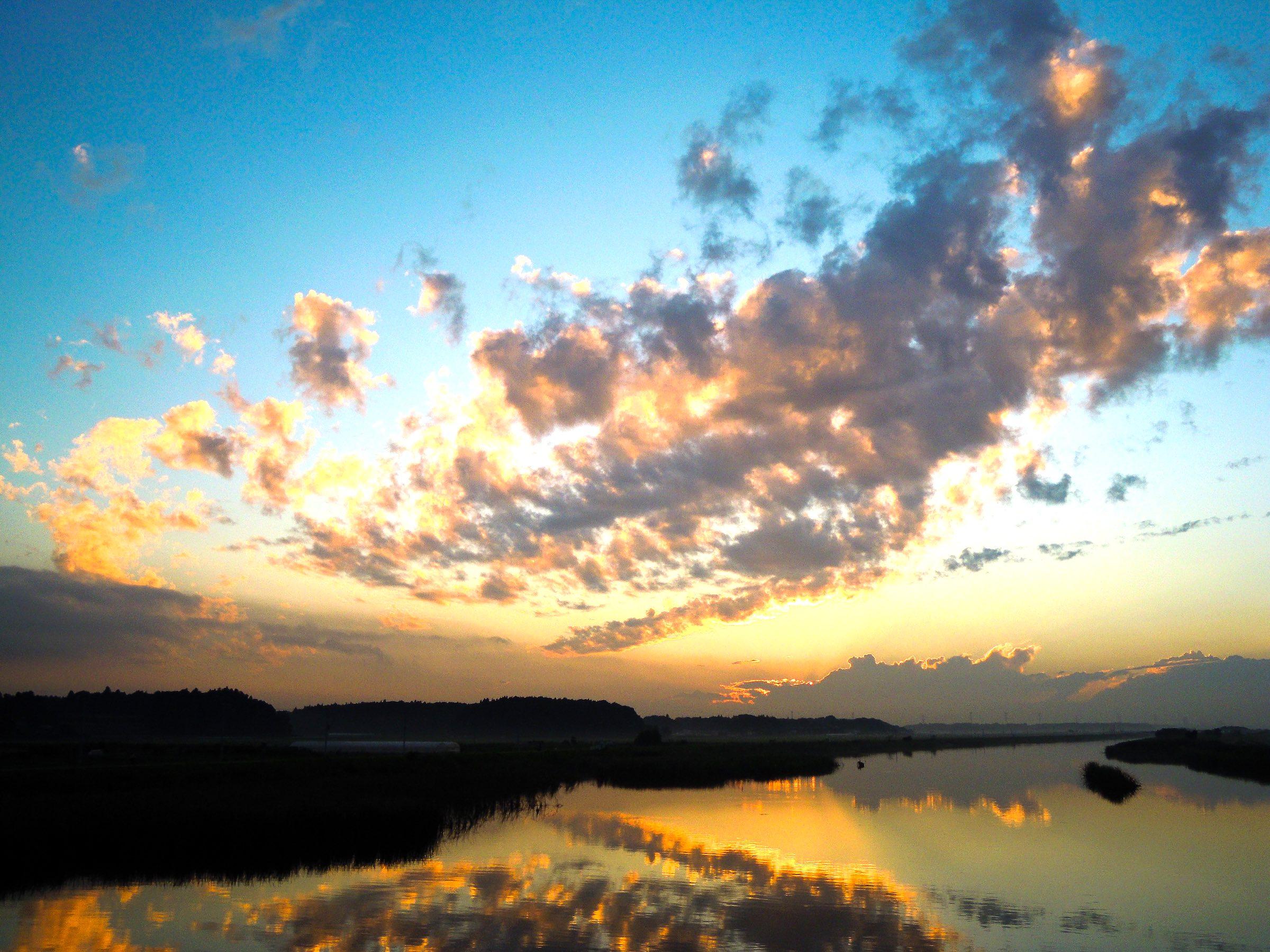 Evening View of Teganuma Lake, Chiba, Japan