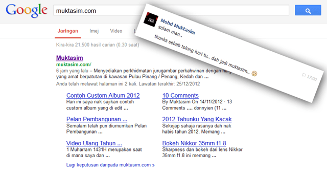 Google search engine result page