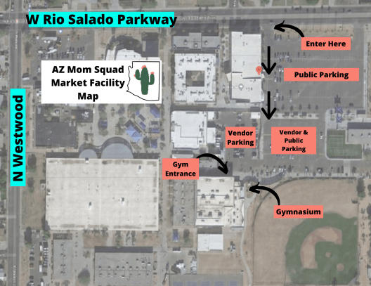 Aerial map of Westwood High School for AZ Mom Squad local boutique