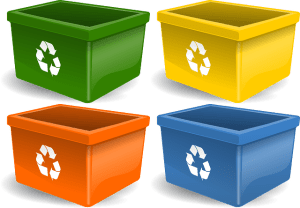 Four plastic recyclable containers that you can use to pack your kitchen appliances.