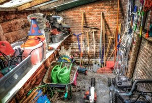 Messy shed.