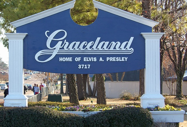 Graceland sign in Memphis, Tennessee.