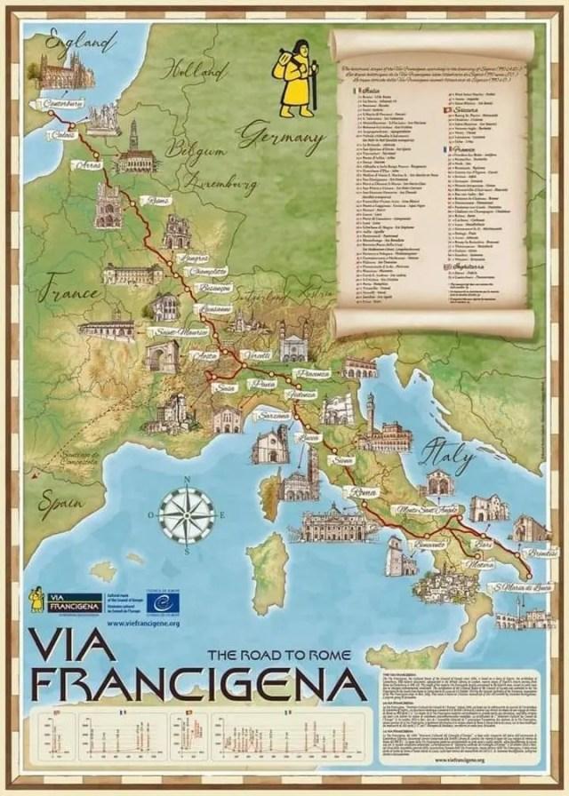 Il percorso della Via Francigena