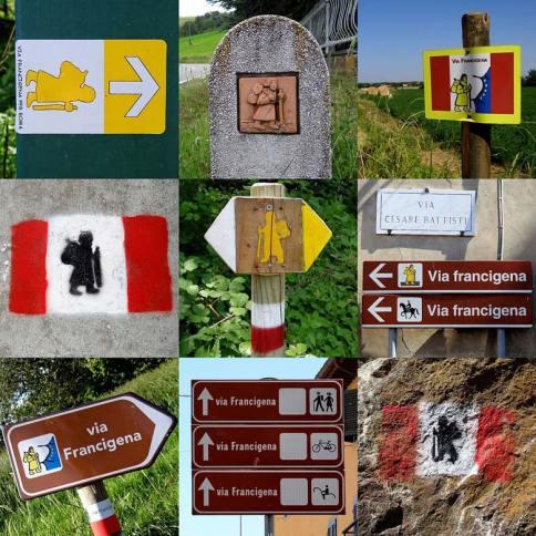 La segnaletica della Via Francigena