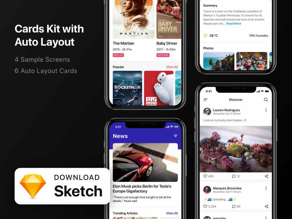 Free Card Kit with Auto Layout for Sketch
