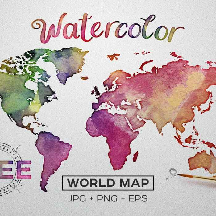Watercolor World Map for Free