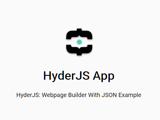 HyderJS: Build UI Components From JSON