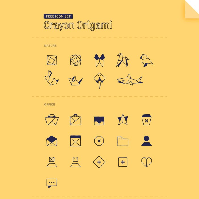 Crayon Origami: Free Icon Set