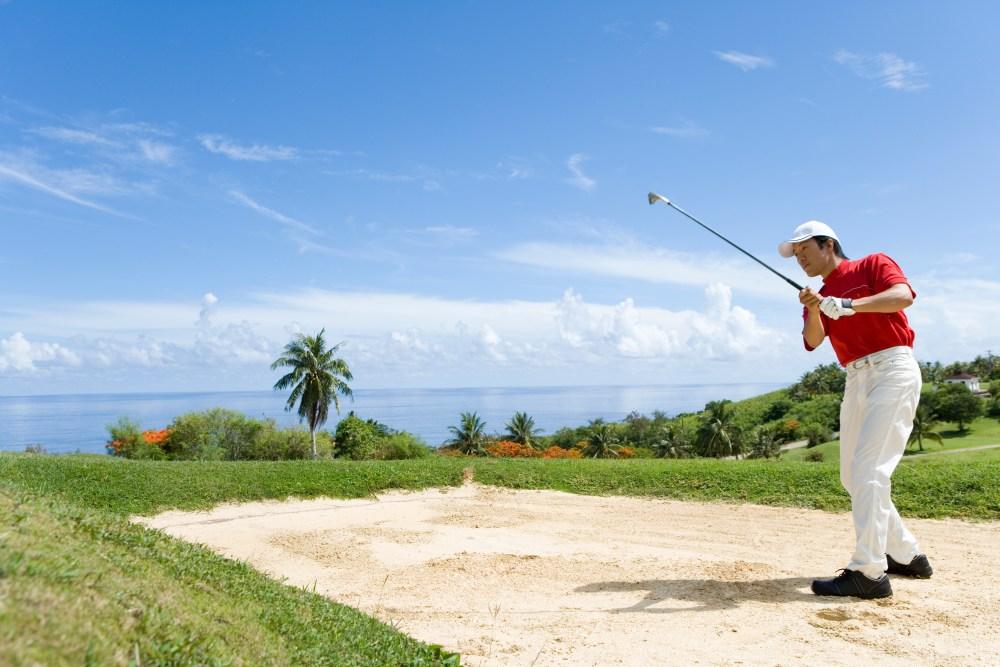 Playing golf, Saipan, USA