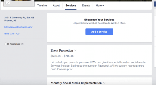 Add your Services to your Facebook Business Pages!