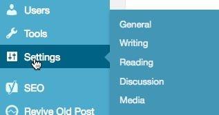 WordPress Menu- settings