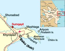 Sumgayt in a map of Azerbaijan