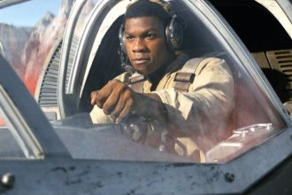 Star Wars: The Last Jedi..Finn (John Boyega) in a Ski Speeder on Crait..Photo: Industrial Light & Magic/Lucasfilm..©2017 Lucasfilm Ltd. All Rights Reserved.