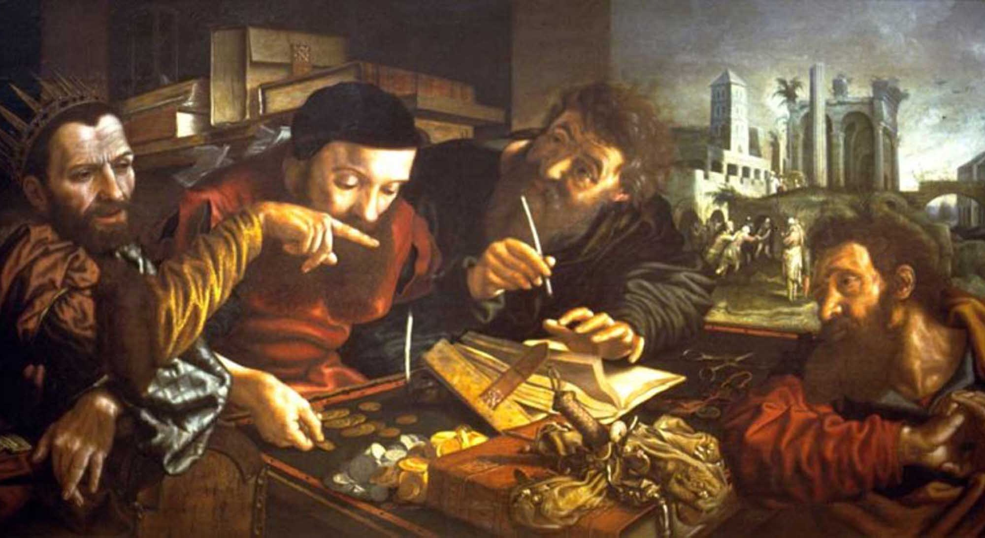 Jan van HEMESSEN (c. 1500-c. 1575); Parable of the unmerciful servant.; 1548-1552; Painting; Ann Arbor. University of Michigan Museum of Art.; Netherlands.