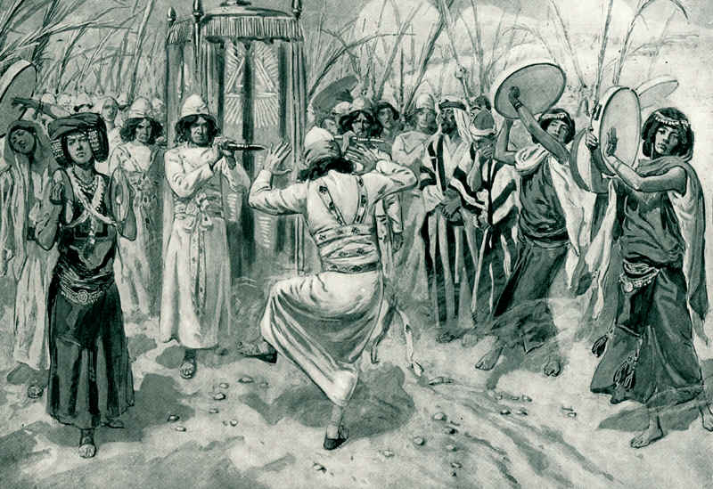 """English: """"David danced before the LORD with all his might; and David was girded with a linen ephod""""; 2 Samuel 6:14; watercolor circa 1896–1902 by James Tissot"""