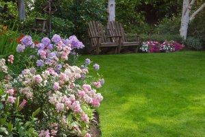 Colorful landscape make a beautiful backyard for relaxation, Highland NY
