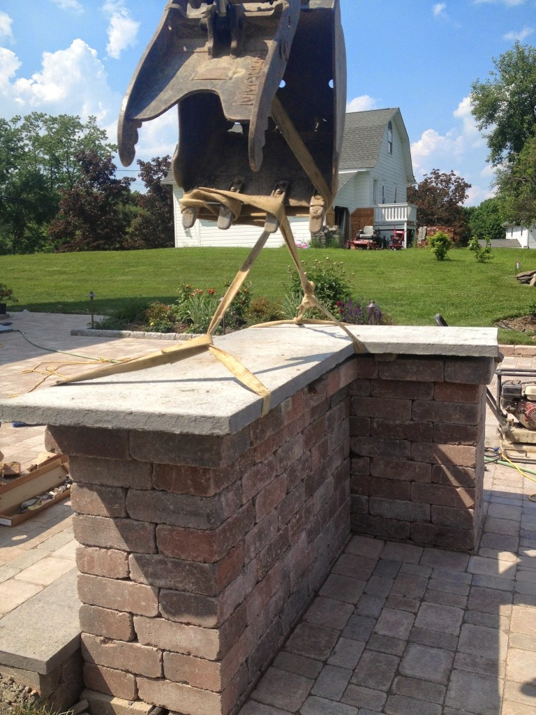 Custom blue stone counter top for outdoor kitchen