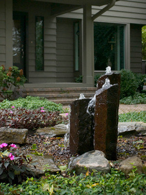 A Small decorative tree tier waterfall is perfect for main entrance, New Paltz NY