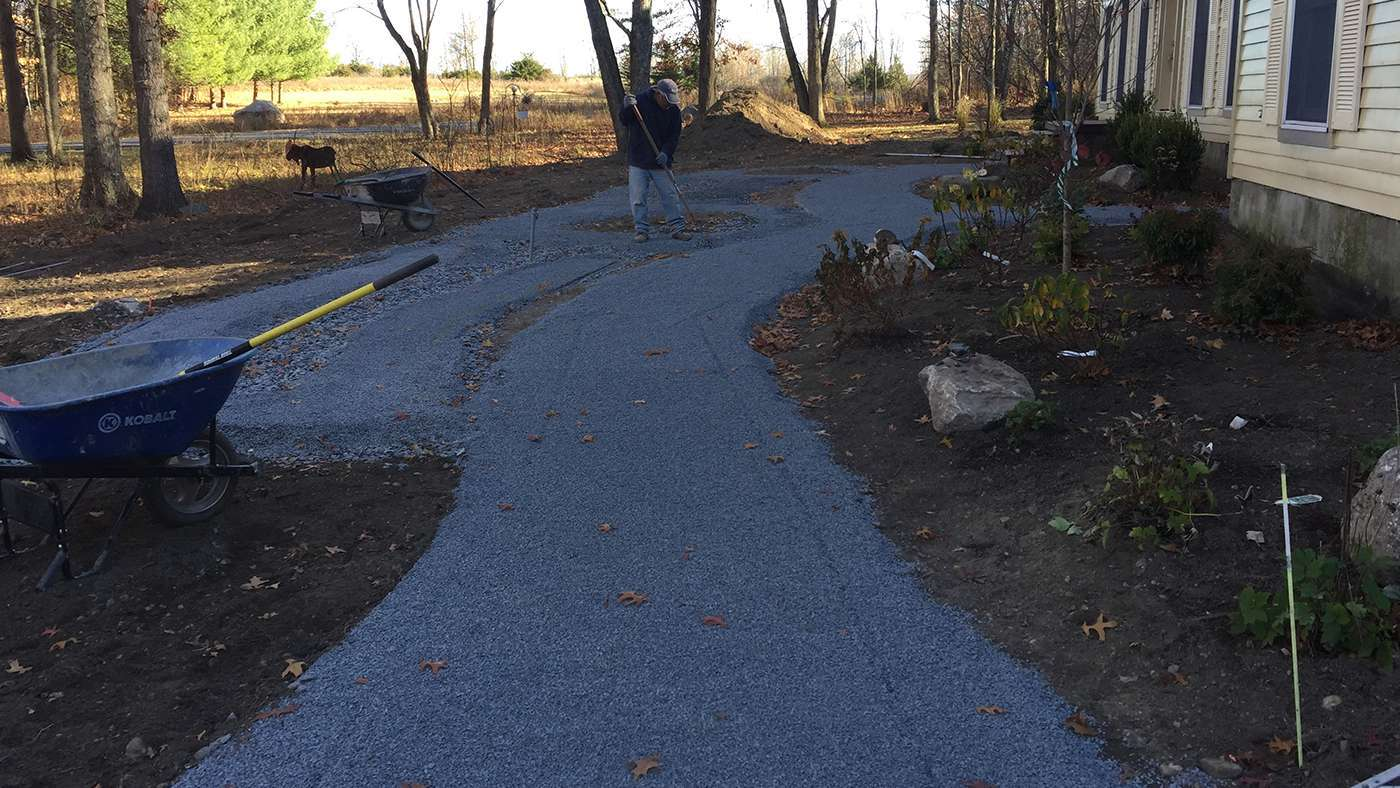 Installation of the base for the walkway is put down and ready for pavers in New Paltz NY