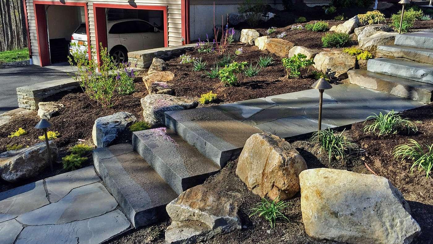 Front Landscaping, blue stone steps, LED landscape lighting New Paltz NY