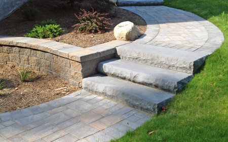 Cambridge Pavers walkway with natural blue stone steps, New Paltz NY