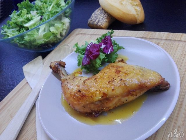Muslos de pollo macerados al horno.