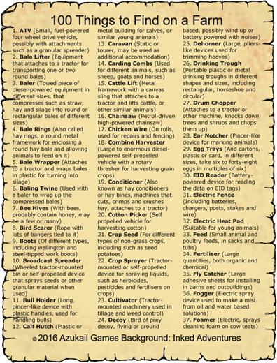 100 Things to Find on a Farm
