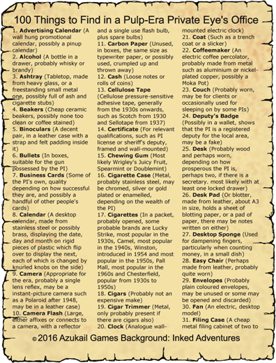 100 Things to Find in a Pulp-Era Private Eye's Office