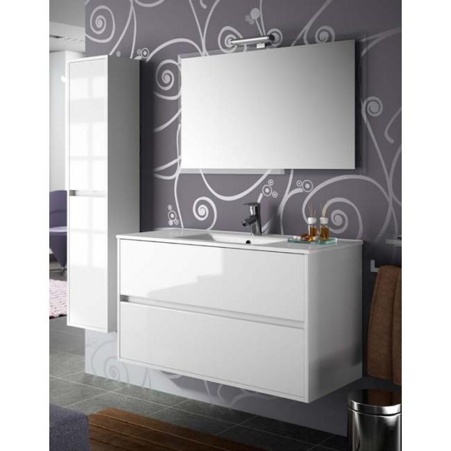 Mueble de bao NOJA 100 Blanco Brillo lavabo cermico salgar