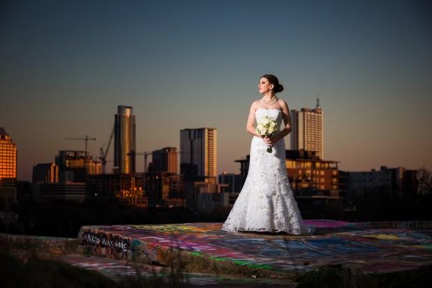 Ivy: Bridal Portraits in Austin - downtown austin, austin skyline - Blue Hour Bridal Portraits - Graffiti Castle Bridal Portraits, Austin wedding photographers