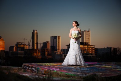 Ivy: Bridal Portraits in Austin - downtown austin, austin skyline - Blue Hour Bridal Portraits - Graffiti Castle Bridal Portraits, Austin wedding photographers
