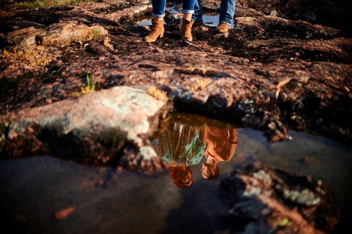 Inks Lake Adventure Engagement - Creative Engagement Photos - Reflection Engagement Portrait - Austin Adventure Engagement