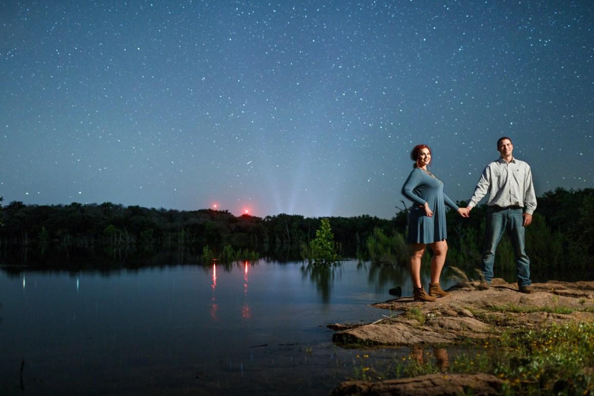 Inks Lake Adventure Engagement - Starry Night Portrait - Star Engagement - Austin Adventure Engagement