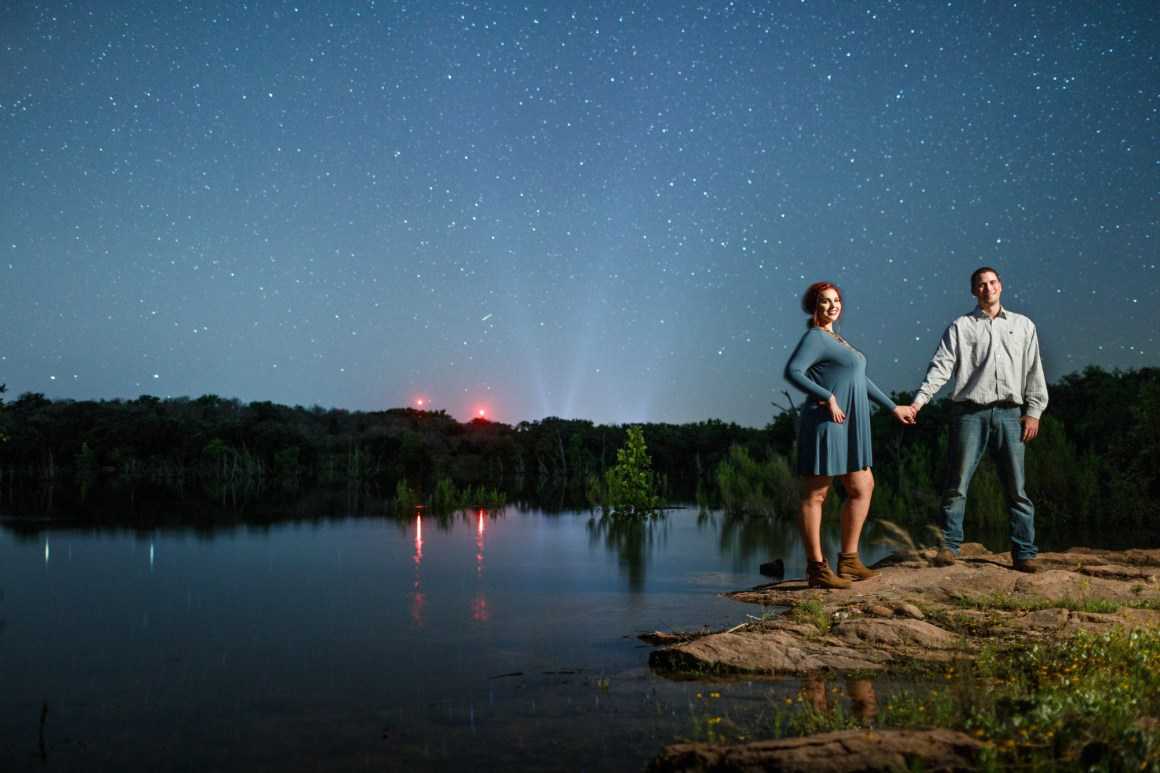 Inks Lake Adventure Engagement - Starry Night Portrait - Star Engagement - Austin Adventure Engagement