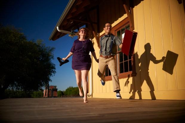Kyle Travel Themed Adventure Engagement - Austin Wedding Photographers