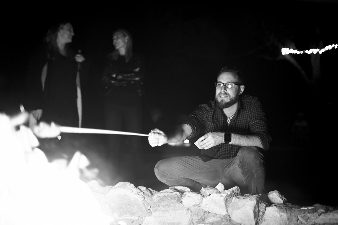 Smores at a Camp Fire - Waco DIY Wedding - Temple Camp Wedding - Hallie and Jonathan - Green Family Camp - Blue Bonnet Wedding