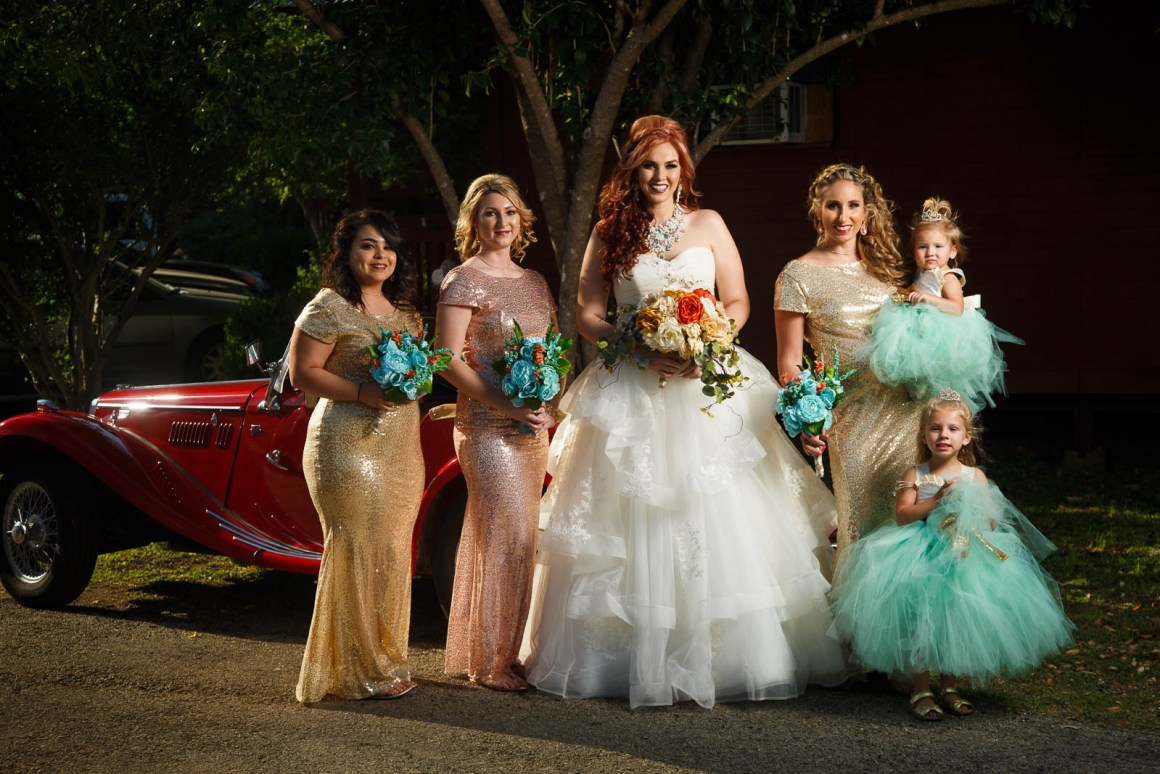 Canyon Lake Wedding - Country Wedding - Classic Car Wedding - New Braunfels Wedding - formal portraits - bridesmaids - Gold and Teal wedding colors - Shay and Jason -