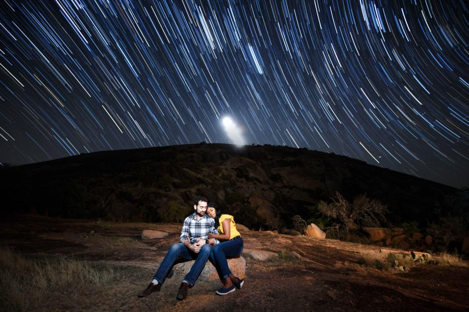 Austin Engagement Photos under the Stars at Enchanted Rock - Startrail Portrait