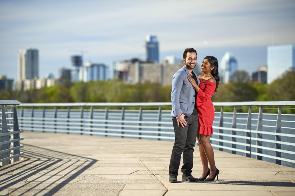 Austin Engagement Photos -Lake Austin Board Walk Austin Sky Line Engagement Portrait