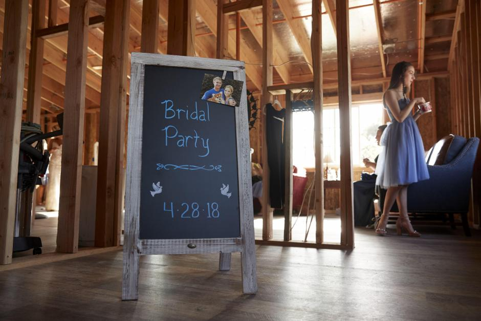 Claire's bridal party area in the unfinished barn.