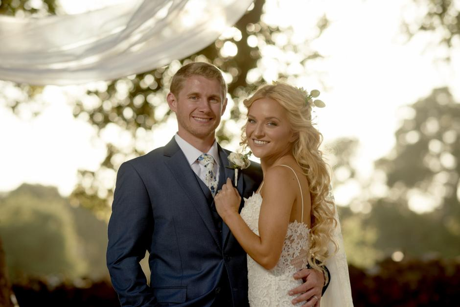 Claire and Eric Private Santa Clarita Home Sunset Wedding Portrait