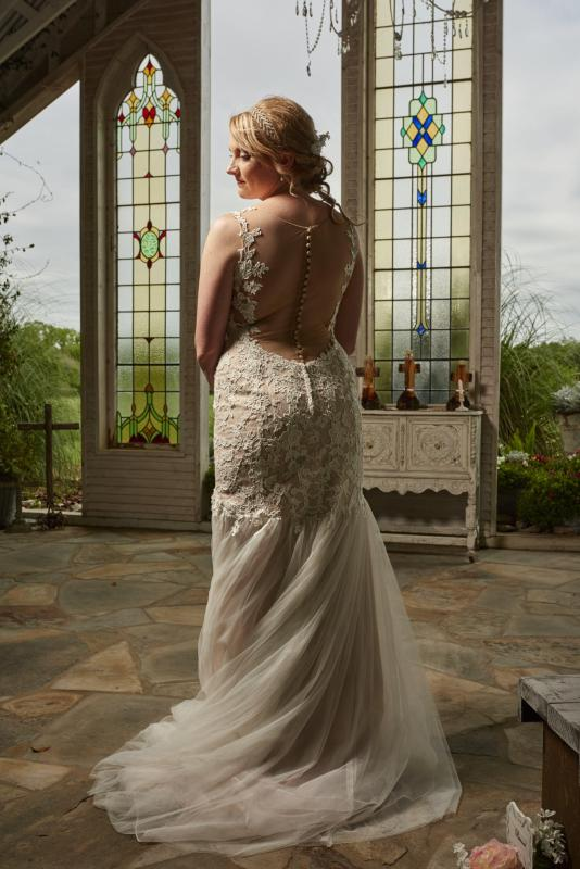 Bride's portrait in the Gruene Estate Chapel.